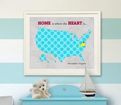 Personalized Kids Wall Art - USA MAP - Home Is Where The Heart Is - Unframed Print-B018KOAMEQ