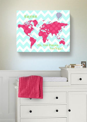 Personalized Map Girl Room Canvas Art - Dr Seuss Nursery Decor - Canvas World Map Collection - Oh The Places You'll Go-B071W2RK6Y-MuralMax Interiors
