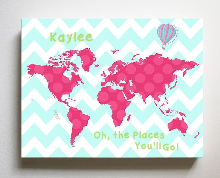 Personalized Map Girl Room Canvas Art - Dr Seuss Nursery Decor - Canvas World Map Collection - Oh The Places You'll Go-B071W2RK6Y