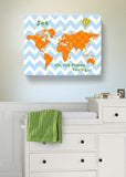 Personalized Map Nursery Art- Dr Seuss Nursery Decor - Chevron Canvas World Map Collection - Oh The Places You'll Go-B018ISNIPO-MuralMax Interiors