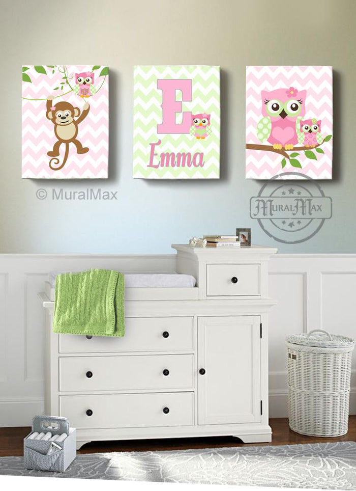 Personalized Monkey & Owls Canvas Decor - Girl Room Decor - Set of 3-Pink Green Wall Art