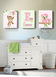 Personalized Monkey & Owls Canvas Decor - Girl Room Decor - Set of 3-Pink Green Wall Art-MuralMax Interiors