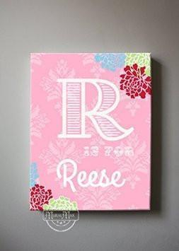 Personalized & Monogrammed Baby Girl Room Decor - Floral Mums Canvas Nursery Wall Art-MuralMax Interiors