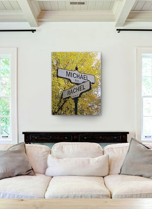 Personalized Names & Established Date Street Sign - Canvas Housewarming Wall Decor - Memorable Anniversary & Wedding Gifts For Living Room & BedroomsHomeMuralMax Interiors