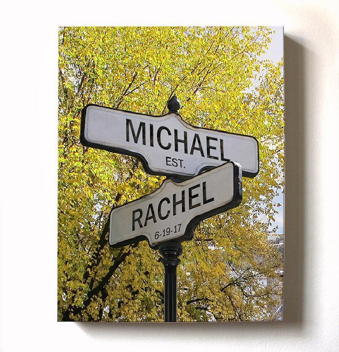 Personalized Names & Established Date Street Sign - Canvas Housewarming Wall Decor - Memorable Anniversary & Wedding Gifts For Living Room & Bedrooms