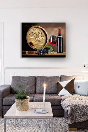 Personalized Napa Valley Wine Barrel Canvas Wall Decor - Milestone for Parents, Grandparents, Newlyweds, Bridal ShowersHomeMuralMax Interiors