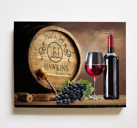 Personalized Napa Valley Wine Barrel Canvas Wall Decor - Milestone for Parents, Grandparents, Newlyweds, Bridal Showers-MuralMax Interiors