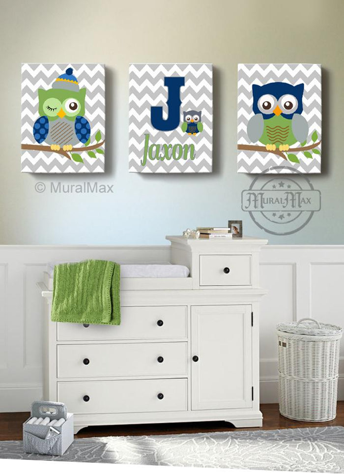Personalized Navy Green Boy Nursery Decor - Owl Canvas Art Decor - Set of 3