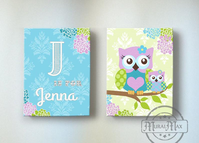 Personalized Nursery Art - Floral Owl Girl Room Decor - Purple & Blue Canvas Decor - Set of 2