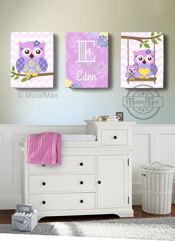 Personalized Nursery Art - Lilac Purple Owl Girl Room Decor - Canvas Art - Set of 3