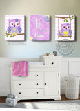 Personalized Nursery Art - Lilac Purple Owl Girl Room Decor - Canvas Art - Set of 3-MuralMax Interiors