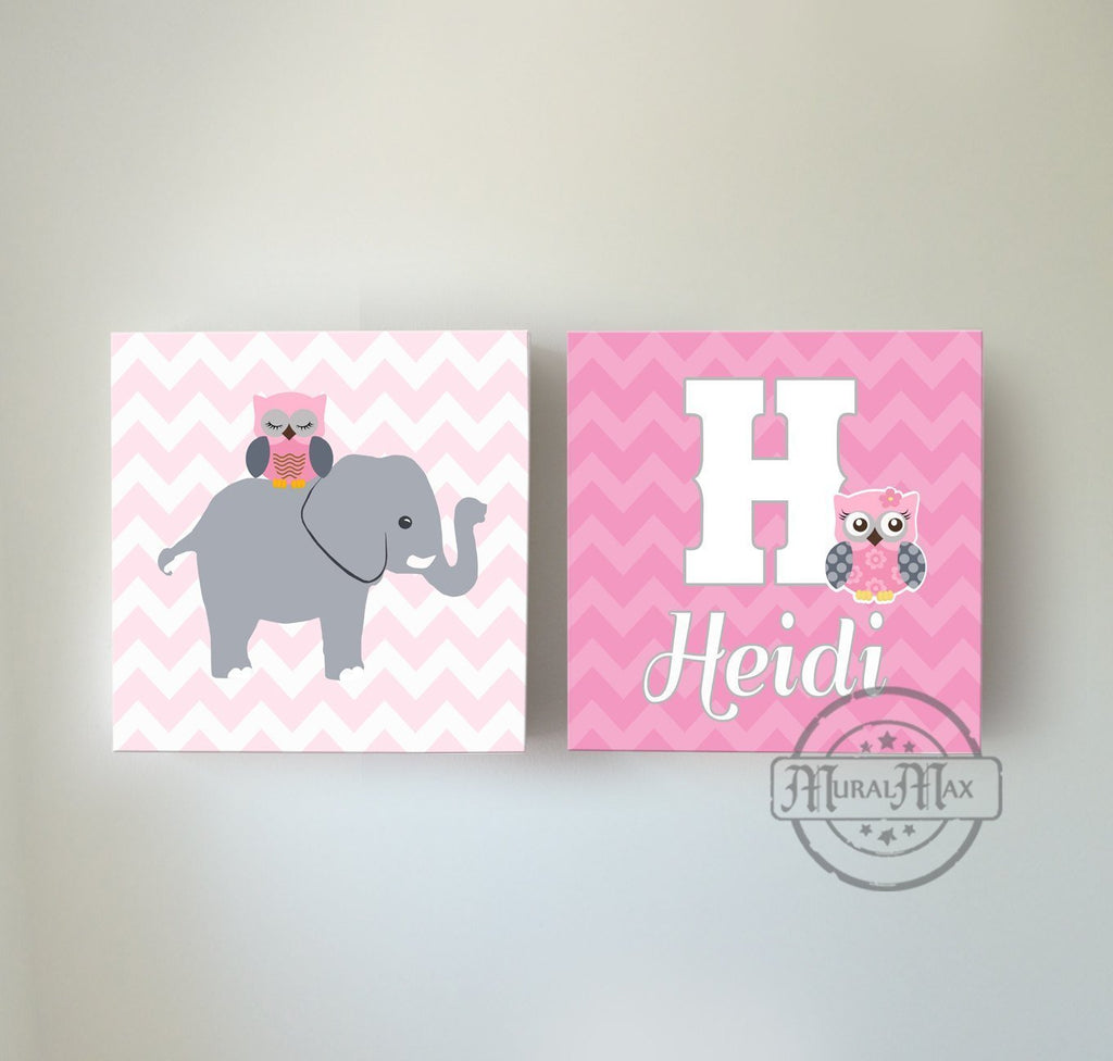 Personalized Nursery Decor - Elephant and Owl Chevron Baby Girl Room Decor Canvas Wall Art - Set of 2-MuralMax Interiors