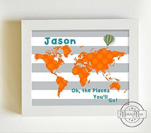 Personalized Oh The Places You'll Go Baby Boy Nursery Decor Global Map Theme - Unframed Print-B01CRT8OPE-MuralMax Interiors
