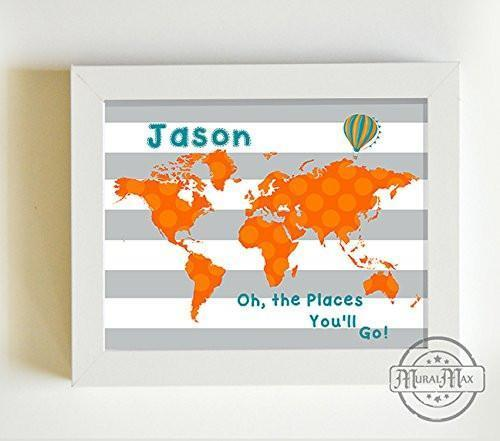Personalized Oh The Places You'll Go Baby Boy Nursery Decor Global Map Theme - Unframed Print-B01CRT8OPE