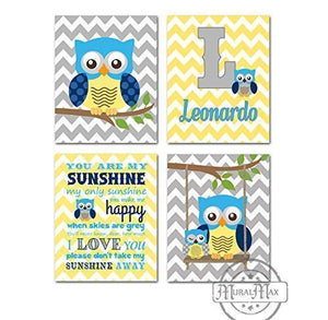 Personalized Owl Art - You Are My Sunshine Nursery Decor - Set of 4 - Unframed Prints - Blue Yellow Decor-MuralMax Interiors