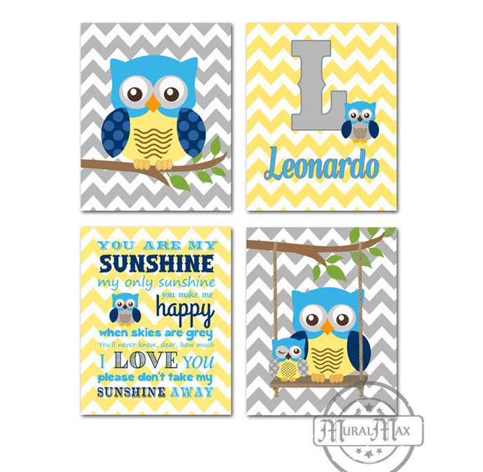 Personalized Owl Art - You Are My Sunshine Nursery Decor - Set of 4 - Unframed Prints - Blue Yellow Decor