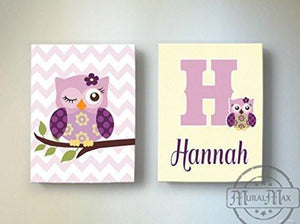 Personalized Owl Baby Girl Nursery Art - Canvas Wall Art - Set of 2 Plum Purple Decor-MuralMax Interiors
