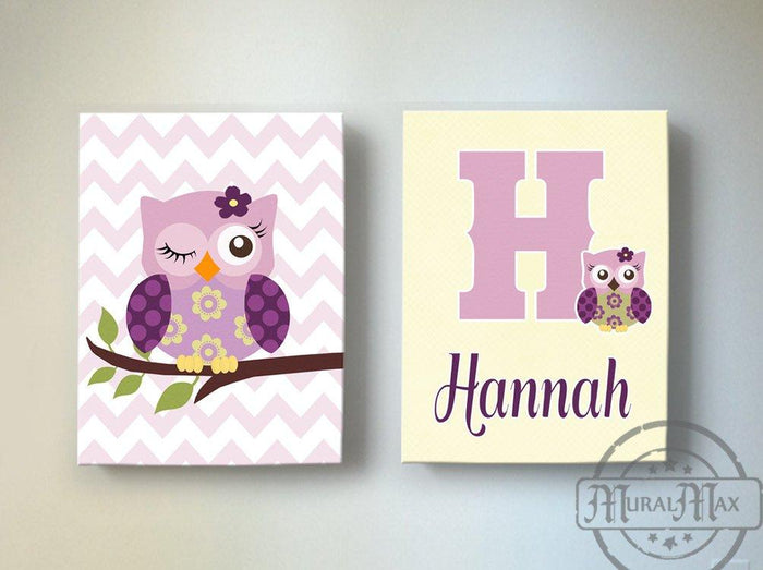 Personalized Owl Baby Girl Nursery Art - Canvas Wall Art - Set of 2 Plum Purple Decor
