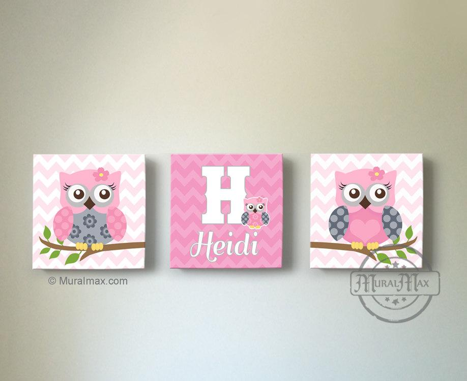 Personalized Owl Canvas Art - Set of 3 - Girls Room Pink & Gray Decor-MuralMax Interiors