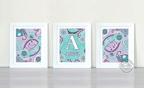 Personalized Paisley Wall Art Collection - Unframed Prints- Set of 3-B018KOHGIG