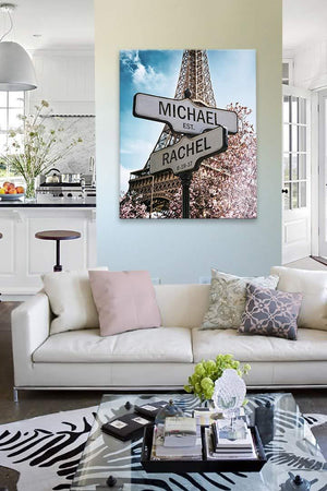 Personalized Paris Street Sign - Couples Names Custom Sign - Custom Anniversary Gift Wedding Gift-MuralMax Interiors