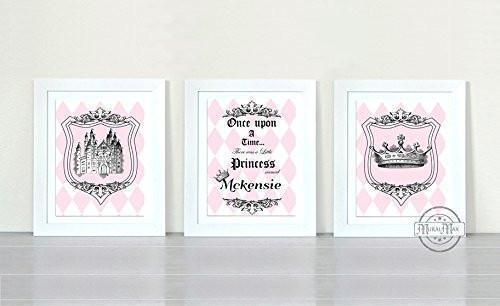 Personalized Princess Nursery Collection - Unframed Prints - Set of 3