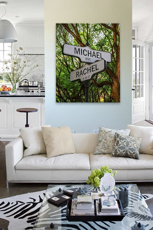 Personalized Street Sign Cross Road Custom Names & Established Date Street Sign Canvas Wall Art-MuralMax Interiors