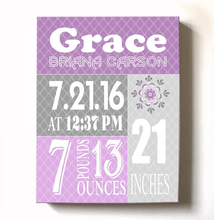 Personalized Stretched Canvas Birth Announcement Gift, Custom Baby Name, Date, Weight Stats