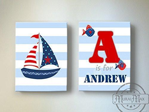 Personalized - Striped Nautical Sailboat Theme - Canvas Nursery Boating Collection - Set of 2-B019018KP6