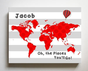 Personalized Toddler Room Decor - Dr Seuss Nursery Decor - Canvas World Map - Oh The Places You'll Go-B018ISOBIC-MuralMax Interiors