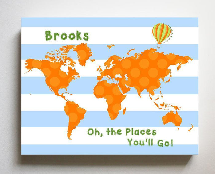 Personalized Toddler Room Decor - Dr Seuss Nursery Decor - Striped Canvas World Map Collection - Oh The Places You'll Go-B018ISOFJW