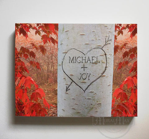 Personalized Tree Carving Canvas Art - Romantic Couples Gift - Anniversary Present - Unique Wedding Gift - Gift for Mom-MuralMax Interiors