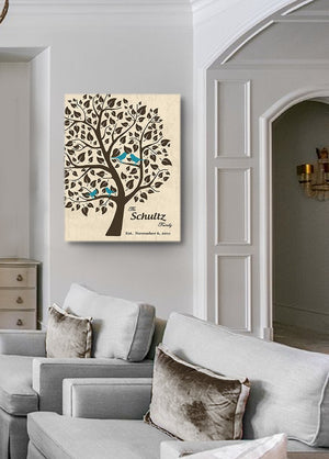 Personalized Unique Family Tree - Stretched Canvas Wall Art - Make Your Wedding & Anniversary Gifts Memorable - Unique Decor - Color Beige # 1 - 30-DAY - Color - Beige # 1 - B01L7IB99O-MuralMax Interiors