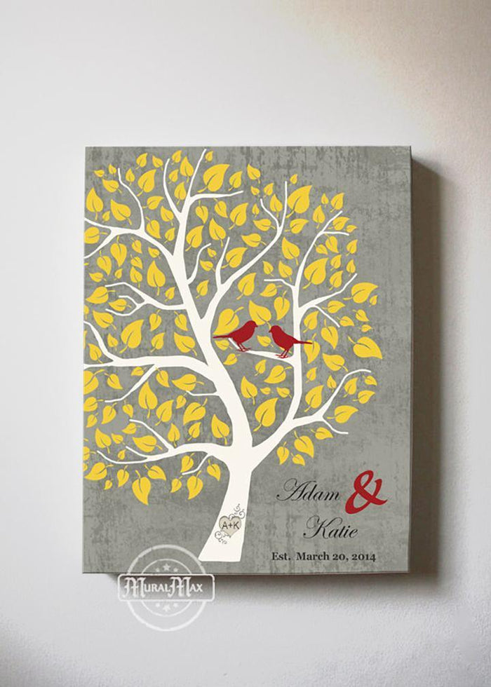 Personalized Unique Family Tree - Stretched Canvas Wall Art - Make Your Wedding & Anniversary Gifts Memorable - Unique Decor - Color - Gray # 5 - B01I0AODJK