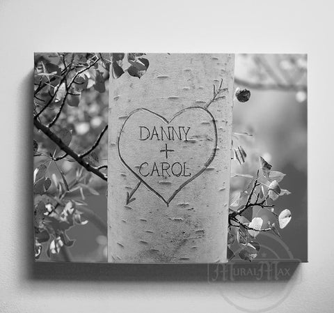 Personalized Wedding Anniversary Canvas Wall Art Gift - Heart Tree Carving - Names Carved In Tree-MuralMax Interiors