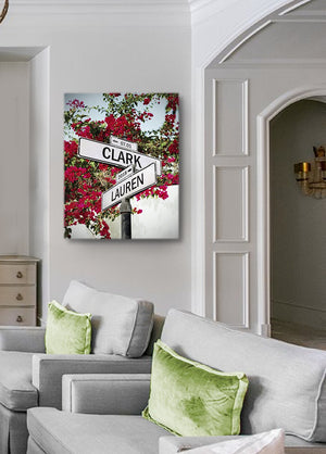 Personalized Wedding Gift Street Sign Art - Cross Road Custom Canvas Art Gift for Couples Anniversary-MuralMax Interiors