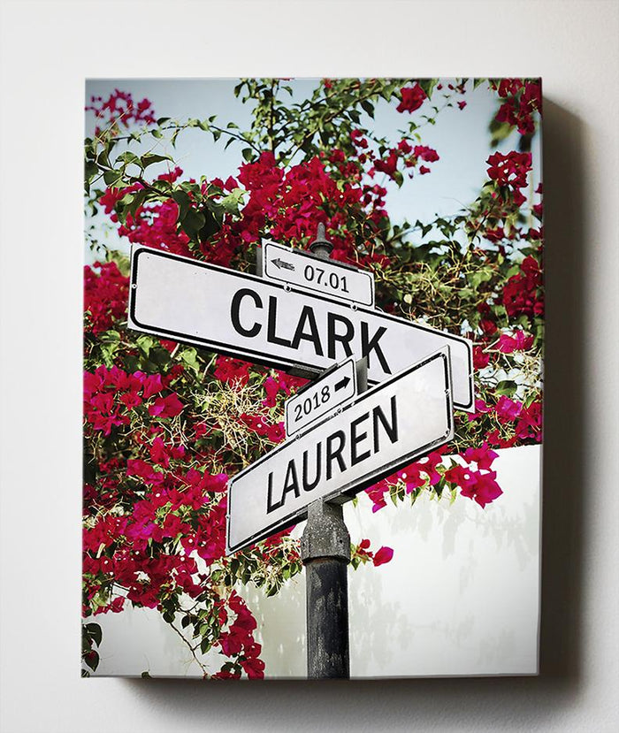 Personalized Wedding Gift Street Sign Art - Cross Road Custom Canvas Art Gift for Couples Anniversary