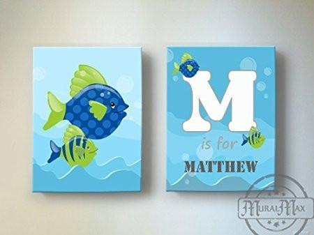 Personalized Whimsical Fish Theme - Canvas Nursery Decor - Set of 2-B018ISKQ22