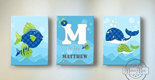 Personalized Whimsical Fish Theme - Canvas Nursery Decor - Set of 3-B018ISJRHW
