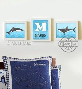 Personalized Whimsical Shark Wall Art - Unframed Prints - Set of 3-B018KOB5TW