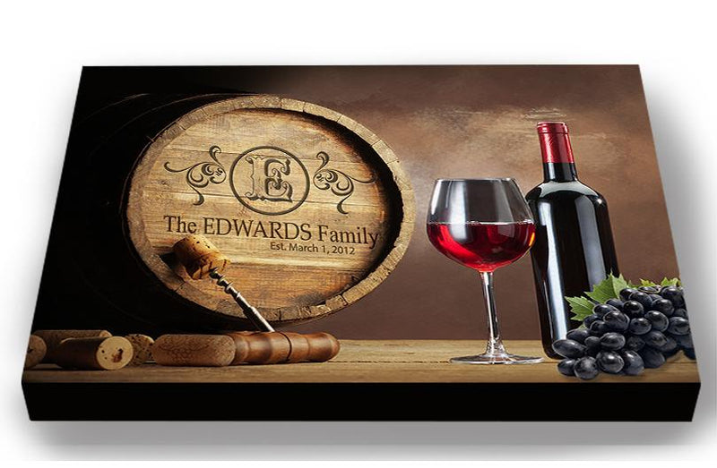 Personalized Wine Barrel Canvas Sign - Rustic Barrel Wall Décor -  Anniversary & Wedding Gifts For Kitchen & Living Room