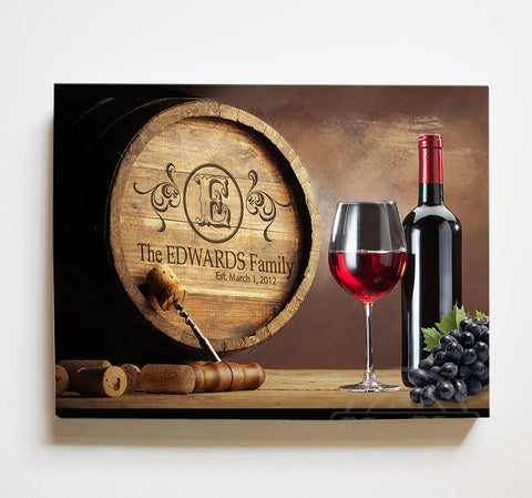 Personalized Wine Barrel Canvas Sign - Rustic Barrel Wall Décor - Anniversary & Wedding Gifts For Kitchen & Living Room-MuralMax Interiors