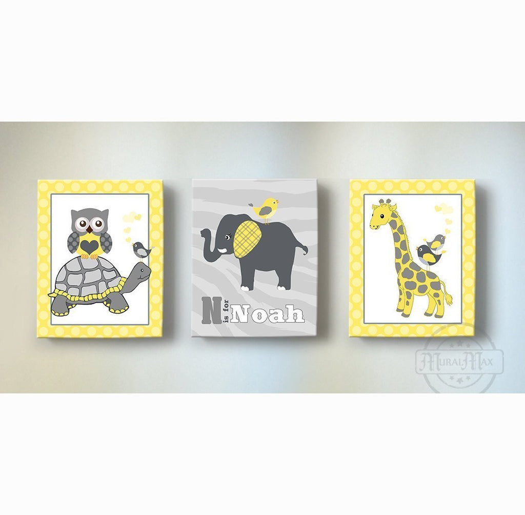 Personalized Yellow Gray Nursery Decor - Whimsical Safari Animals Canvas Art - Elephant Giraffe - Set of 3-MuralMax Interiors