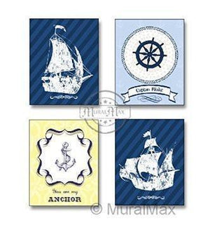 Personalized - You Are My Anchor Nautical Sailboat Theme - Unframed Print - Set of 4-B018KOB3YY-MuralMax Interiors