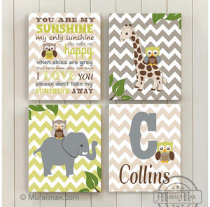Personalized You Are My Sunshine & Safari Animals Canvas Nursery Art - Giraffe & Elephant Collection - Set of 4-MuralMax Interiors