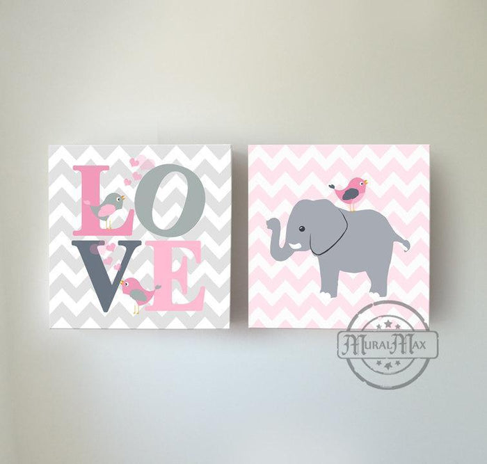 Pink And Gray Elephant Owl Decoration Girl Canvas Wall Art - Set of 2
