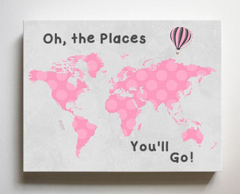 Pink and Gray Map - Baby Girl Nursery Decor Dr Seuss Canvas World Map - Oh The Places You'll Go-B0716K9YV6-MuralMax Interiors