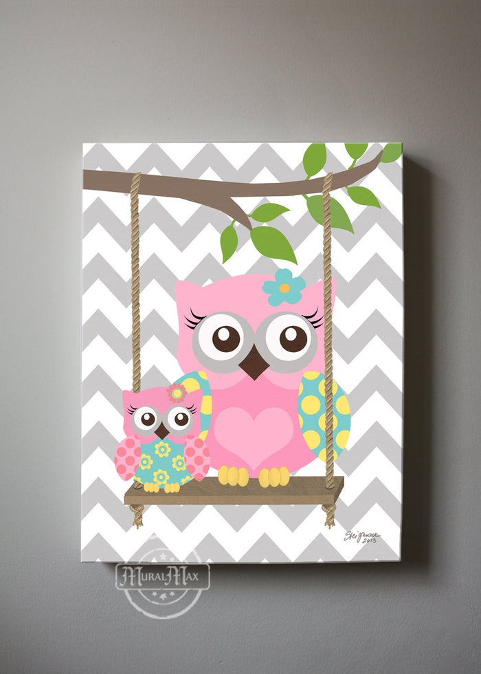 Pink and Gray Nursery - Mom With Baby Owl Canvas Wall Art - Pink Aqua Gray Decor