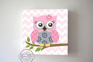 Pink and Gray Owl Baby Girl Nursery Art - Floral Owl Canvas Wall Art-MuralMax Interiors