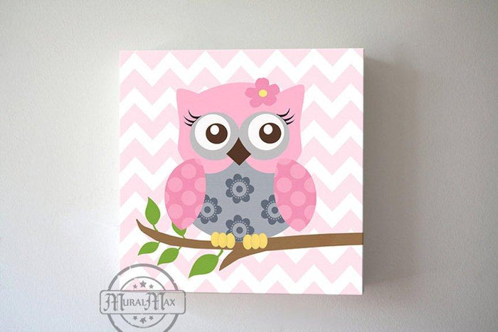 Pink and Gray Owl Baby Girl Nursery Art - Floral Owl Canvas Wall Art